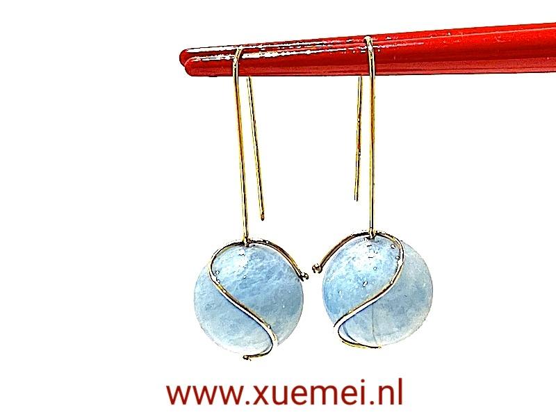 aquamarijn oorbellen goud - goudsmid Xuemei Dijkstal