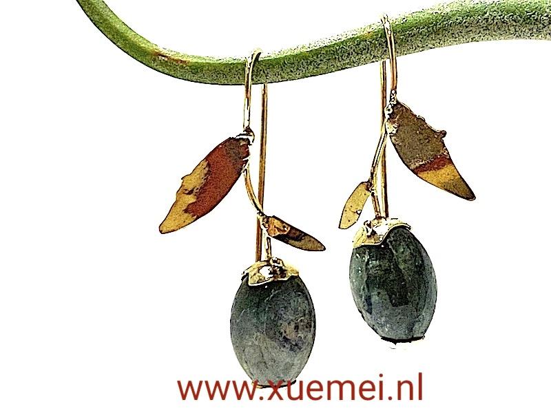groene toermalijn oorbellen goud - goudsmid Xuemei Dijkstal - Delft