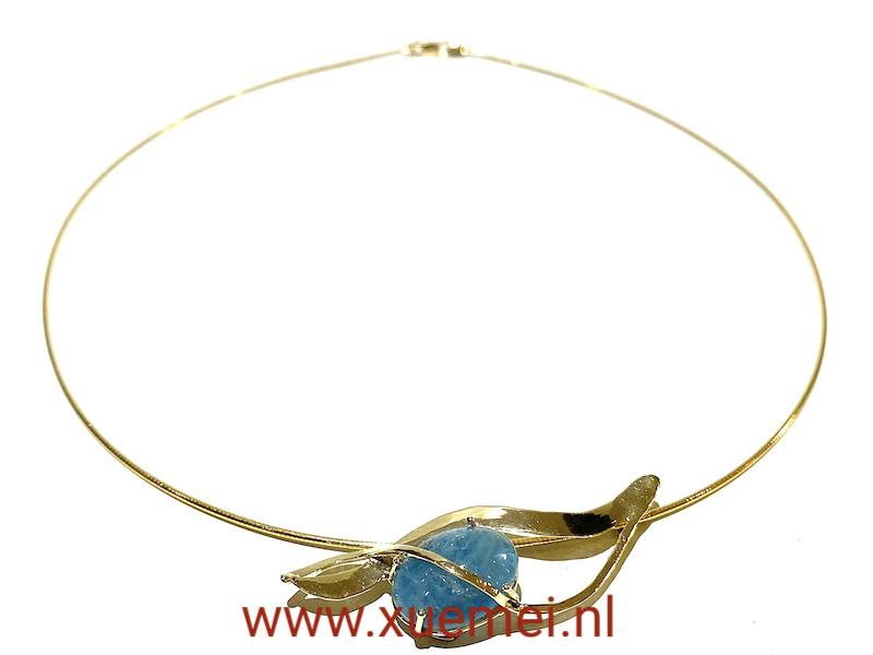 Gouden ketting aquamarijn - uniek - edelsmid Xuemei Dijkstal - handgemaakt