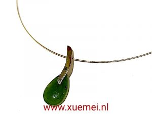 Jade hanger goud - uniek - edelsmid Xuemei Dijkstal