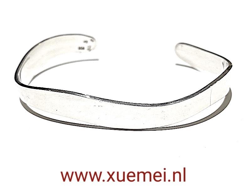 Zilveren slavenarmband - golven - uniek - man - vrouw - edelsmid Xuemei Dijkstal