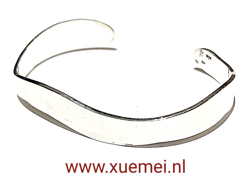 golven - zilveren armband - heren - uniek - edelsmid Xuemei Dijkstal