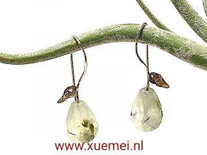 prehniet oorbellen goud - witgoud - uniek - edelsmid Xuemei Dijkstal