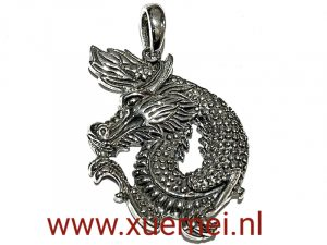 zilveren hanger draak - exclusief - juwelier Delft