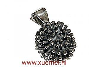 zilveren stekelige bloem - exclusief - juwelier Delft