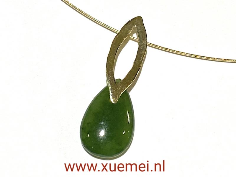 Gouden hanger met nefriet jade - uniek - handgemaakt - goudsmid Xuemei Dijkstal - juwelier en edelsmid Delft