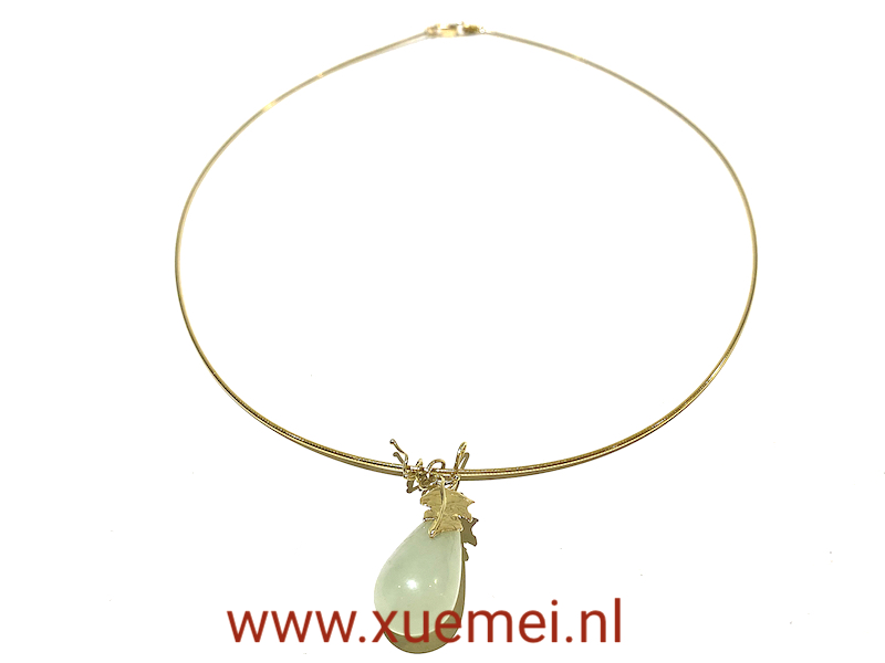 Gouden ketting met jade - handgemaakt - uniek - edelsmid Xuemei Dijkstal - one of a kind jewelry