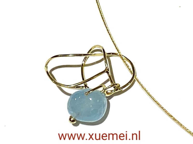 aquamarijn hanger goud - uniek - edelsmid Xuemei Dijkstal