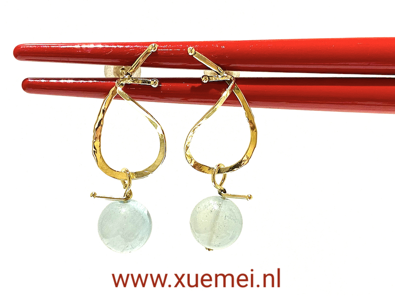aquamarijn oorbellen goud - edelsmid Xuemei Dijkstal - handgemaakt