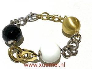 exclusieve zilveren armband - verguld - onyx - witte jade - juwelier Delft