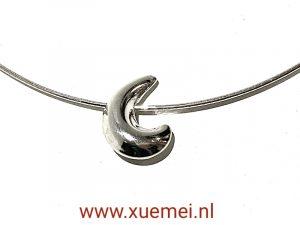 exclusieve zilveren hanger maan op ketting - juwelier Delft