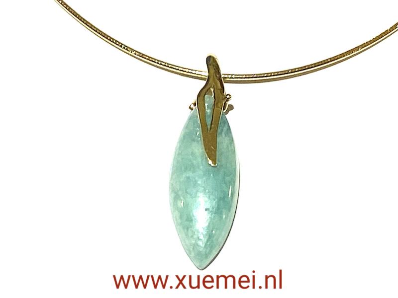 gouden ketting met amazoniet - aqua blauw steen - goudsmid Xuemei Dijkstal - uniek - one of a kind jewelry