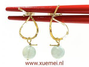 gouden oorbellen aquamarijn - edelsmid Xuemei Dijkstal - unie
