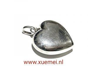 zilveren hart hanger - 3D - exclusief - juwelier Delft