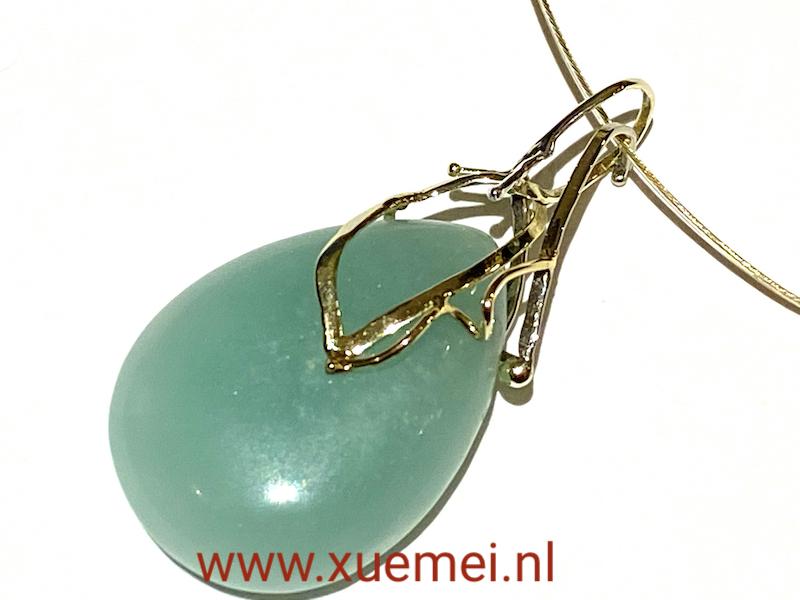 gouden hanger met amazoniet - aqua blauw grote steen - goudsmid Xuemei Dijkstal - uniek
