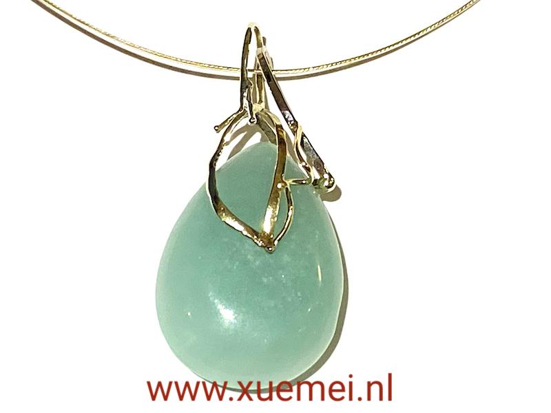 gouden hanger met amazoniet - aqua blauw steen - geelgoud en witgoud combinatie - edelsmid Xuemei Dijkstal
