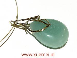 gouden hanger met blauwe amazoniet - grote aqua blauw druppel - witgoud en geelgoud - edelsmid Xuemei Dijkstal - uniek