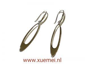 zilveren oorbellen lang ovaal