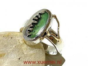 zilveren gouden ring met chrysopraas - groene edelsteen - edelsmid Xuemei Dijkstal - uniek
