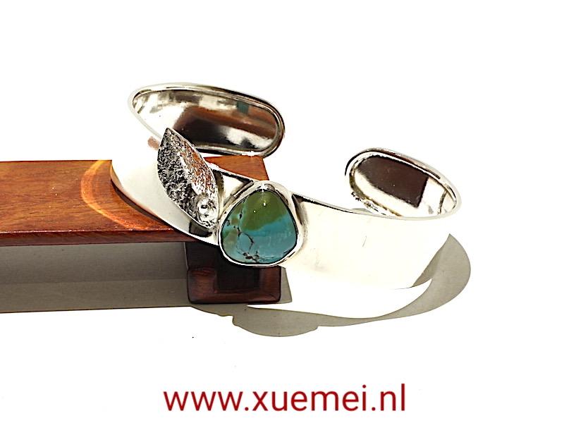 zilveren armband met turkoois - handgemaakt - edelsmid Xuemei Dijkstal