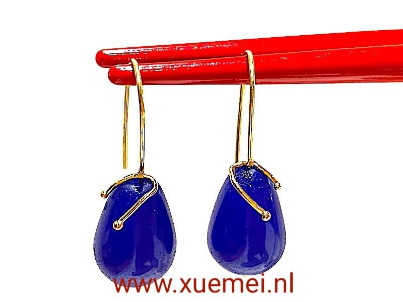 gouden oorbellen baluwe agaat - goudsmid Xuemei Dijkstal - uniek
