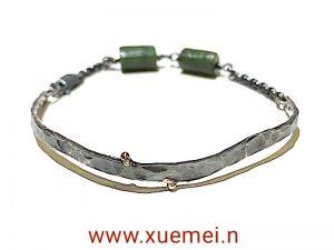 zilveren armband met jade - groene edelsteen - uniek - edelsmid Xuemei Dijkstal