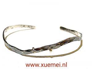 zwarte zilveren armband handgemaakt - uniek - edelsmid Xuemei Dijkstal